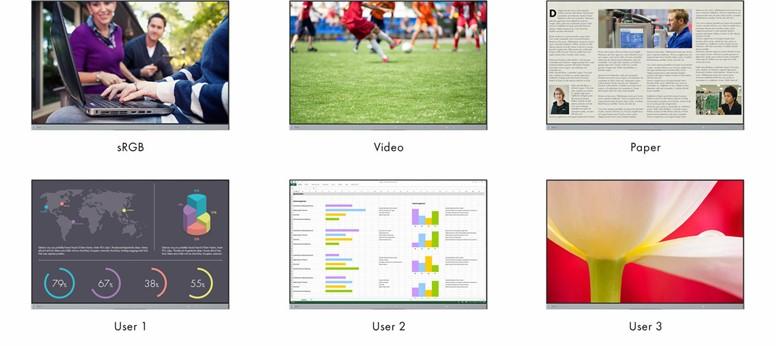 Obr. Přednastavené uživatelské režimy: Optimalizované zobrazení jediným stisknutím tlačítka 1255959e