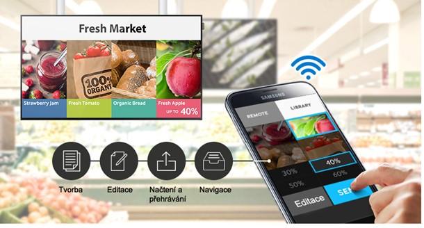 Obr. Digitální značení můžete ovládat bezdrátově, prakticky kdekoli a kdykoli, pomocí mobilního zařízení 535409f